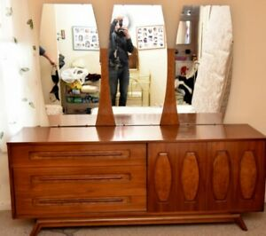 Walnut Dresser And Mirror By Young Manufacturing Mid Century Modern