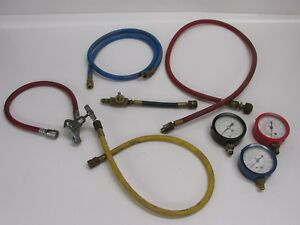 Assorted Air Conditioning Tools Gauges Hoses Can Tap
