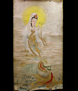 Korea Joseon Dynasty Guanyin And Dragon Painting W 86 H158 Cm