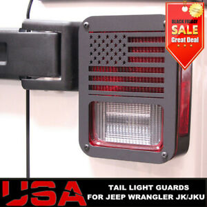 Pair American Flag Tail Light Covers For 2007 2017 Jeep Wrangler New Free Ship
