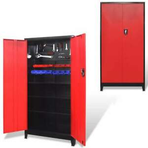 Vidaxl Tool Cabinet Steel Black And Red Tools Storage Organizer Garage Key Lock