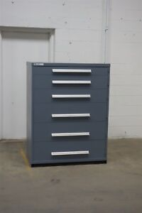 Used Vidmar 6 Drawer Cabinet Industrial Tool Storage 45 Wide 1268 Bin