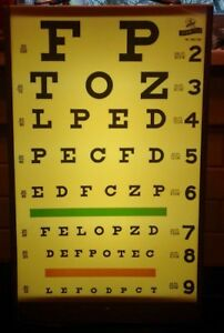 Vintage Graham Field Visual Acuity Eye Chart Cabinet W Light Vision Test