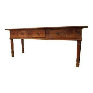 Primitive Farmhouse French Country Reclaimed Wood Console Table Media Console