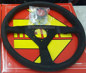 Momo Monte Carlo Alcantara 350mm Red Stitch Steering Wheel Mcl35al3b