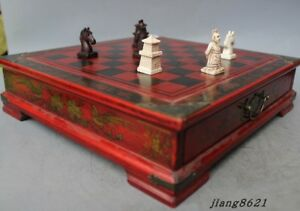 China Painting Flowers Pattern Game Checkerboard Wooden Box Statue