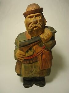 Vintage Hand Carved Wood Military Soldier In Uniform Folk Art Military Army