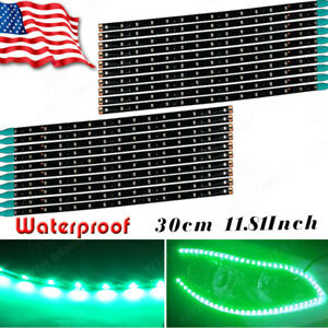 20x 30cm 15 Led Green Car Motor Truck Boat Flexible Light Strip Decor Waterproof