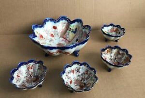 Set Of 5 Vtg Chinese Porcelain Footed Fruit Bowls Oriental Motifs Hand Painted