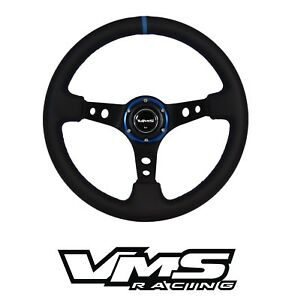 Vms Racing 6 bolt 350mm Leather Blue Deep Dish Steering Wheel For Toyota