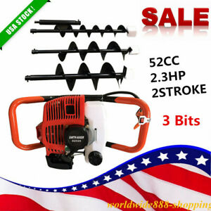 52cc 2 3hp 2 stroke Gas Powered Post Earth Hole Auger Digger Borer 4 6 8 bits