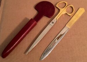 Vintage Italian Desk Top Scissors And Letter Opener In Molded Leather Sleeve euc