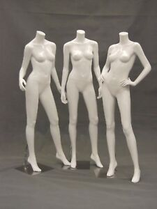 Female Glossy White Headless Mannequins group Of 3 High End Styled Poses