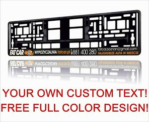 100x Custom Personalized European Euro License Number Plate Holder Frame German