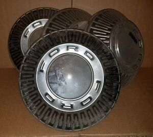 1966 67 Ford Galaxie Fairlane 10 1 2 Dog Dish Poverty Hubcaps Set Of 4