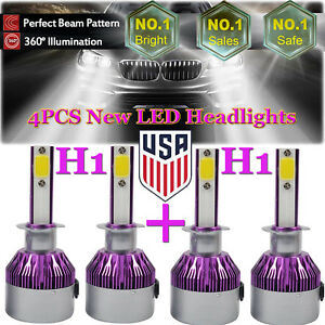 4x H1 2160w Led Car Headlight Kits High Low Beam Combo Bulbs 6000k Replacement