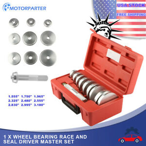Tool Kit Of 10 Bearing Race Seal Install Driver Wheel Axle 9 Discs Collar Axle