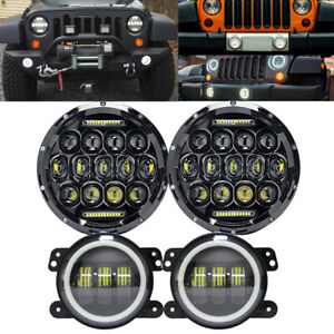 For Jeep Wrangler Jk 7 Led Headlight Drl Turn Signal Fog Fender Light Lamp