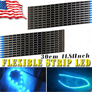 20x Ice Blue 30cm 15 Led Car Motor Drl Running Flexible Strip Light Waterproof