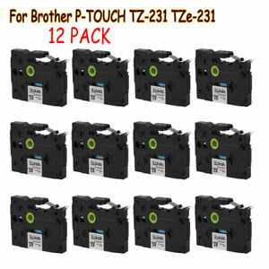 12pack Black On White Label Tape 12mm For Brother Tze Tz 231 P touch 26 2ft Ak
