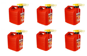 6 No spill Easy Pour 2 1 2 Gallon Gas Cans