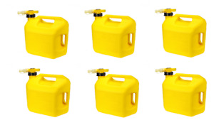 6 No spill Easy Pour Yellow 5 Gallon Diesel Fuel Cans 2 Handle Top And Back