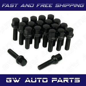 20 Pcs Black M14x1 5 Lug Bolts 40mm Shank Ball Seat Wheel Lug Bolts