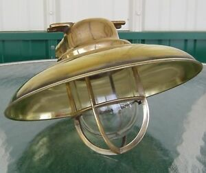 Small Antique Polished Brass Nautical Light With Deflector Cover Usa Wiring