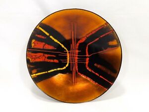 Modernist Vint Hand Painted Metallic Enamel On Copper Abstract Human Form Dish