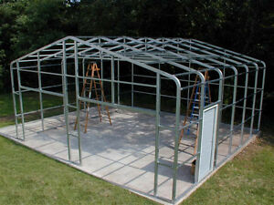 20x24x10 Metal Truss Garage Barn Building 2x3 Tubular Steel Value Steel Shed Kit