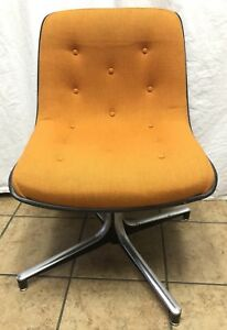 Vtg Industrial Retro Steelcase Button Tufted Orange Swivel Office Chair heavy