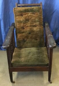 Antique Childs Wooden Reclining Morris Chair 1900 1930s