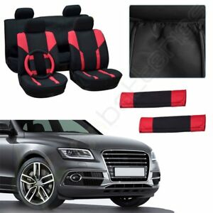 Red Black Durable Elastic New Car Seat Covers W Headrest Cover For Porsche