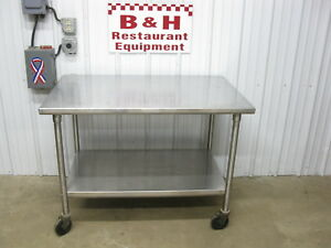 4 Heavy Duty Stainless Steel Kitchen Work Prep Table W Casters Shelf 48