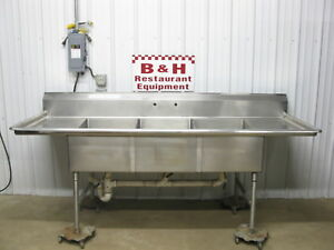 8 Heavy Duty Stainless Steel 3 Bowl 20 X 30 Three Compartment Sink 96