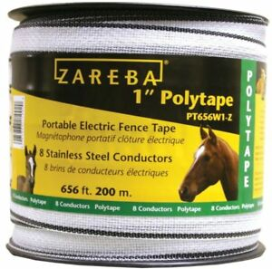 Zareba 1 Polytape Portable Electric Fence Tape 656 Ft Roll Model Pt656w z