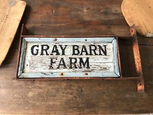 Antique Primitive Wood Gray Barn Farm Sign Trade Aafa 26 X 11 Double Sided