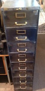 Vintage Steampunk Industrial 8 Drawer Metal File Cabinet Storage Bin Dresser