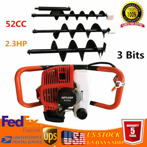 52cc Gas Powered Post Hole Digger Drill Earth Auger Power With 4 6 8 Bit Usa