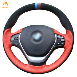 Red Leather Black Suede Car Steering Wheel Cover For Bmw F20 F45 F30 F31 F34