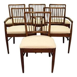 Set Of 6 Mid Century Danish Modern Walnut Spindle Back Dining Chairs