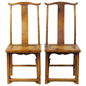 Pair Of Antique Chinese High Back Lamp Hanger Side Chairs Antique Asian Chair