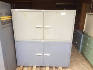 Two Heavy Duty Horizontal Stanley Vidmar Two Door Storage Cabinets