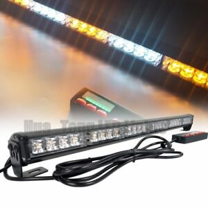 26 Led Warn Traffic Adviser Emergency Flash Amber White Strobe Light Bar 12 24v