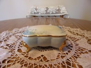 Dresser Box With Small Blue Flowers Gold Trim