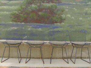 Harry Bertoia For Knoll Authentic Wire Chairs 4 Mid Century Modern Eames