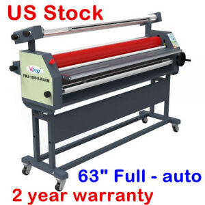 Us 110v 63 Full auto Wide Format Roll Heat Assisted Cold Laminator With Stand