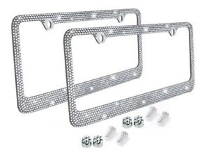 Metal License Plate Frame Bling Rhinestone Chrome Crystal Diamond Glitter 2pc d
