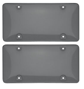2 Tinted License Plate Frame Cover Bubble Shields Protector Universal Fit Cars