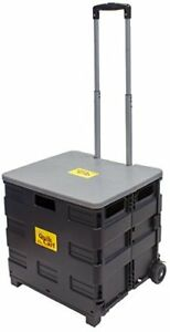 quik Cart Two wheeled Collapsible Handcart With Grey Lid Rolling Utility Cart W